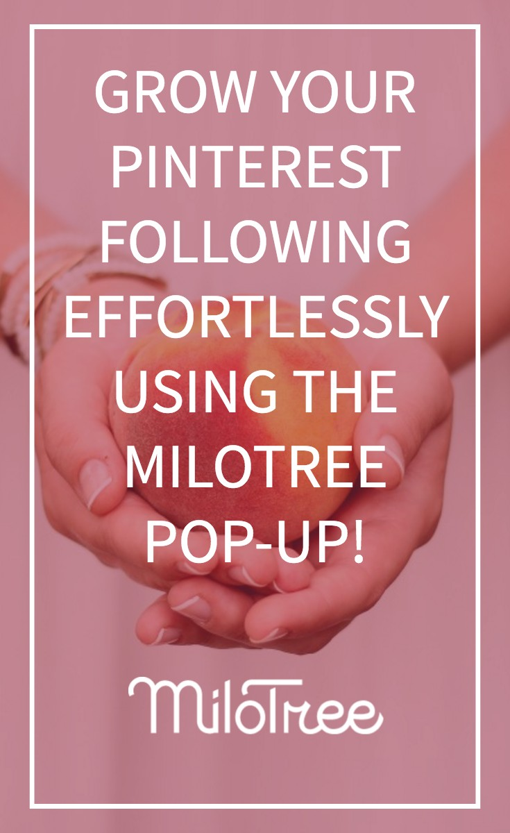 "Hands holding a peace with text overlay ""grow your Pinterest following effortlessly using the Milotree pop-up! MiloTree""."